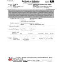 ISO-17025 Hiệu chuẩn được chứng nhận với dữ liệu kiểm tra
